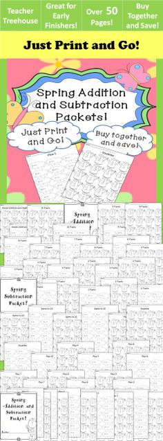 This no prep packet combines two of my best selling spring products- Spring Addition Worksheet Packet and Spring Subtraction Worksheet Packet. It includes over 50 pages of practice!
