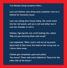 #Blonde joke, #carpentry