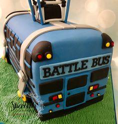 Fortnite battle bus birthday cake novelty