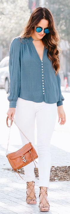 stylish spring outfits /  Blue Blouse / White Denim / Beige Laced Up Pumps / Camel Shoulder Bag