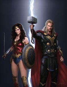 DC Comics/MARVEL Wonder Woman & Thor Justice League /Avengers