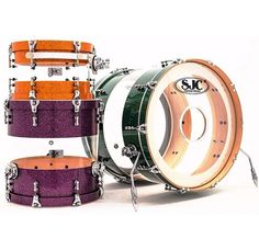 "SJC: Nice SEE THROUGH clear bass drum shown, with sparkle drumkit pieces. RESEARCH #DdO:) MOST POPULAR RE-PINS - https://www.pinterest.com/DianaDeeOsborne/drums-drumming-joy/ - CUSTOM DRUMS. Handcrafted in USA since 2000 in Massachusetts. One snare can be $499; Bermuda Sand retails for $799. They advertise, ""Submit your dream kit for a quote!"" Set parts so clear, looks like fascinating spaces in middle of orange & purple! Pinned via cSw:) - http://www.pinterest.com/claxtonw/drummer-drumming/"