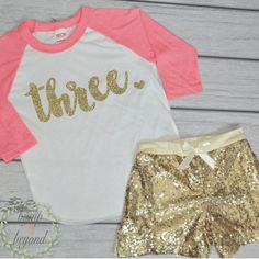 3 Year Old Birthday Shirts 3rd Birthday Shirt Outfit Set with Shorts Trendy Toddler Girl Gold Three Outfit Gold Sequin Shorts Raglan Set 102