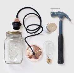 material necesario para hacer una lampara con tarros de cristal