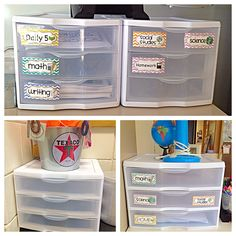 Clever Classroom Storage Solutions: Part 1  STORAGE DRAWERS for teacher copies, student turn-in bins, and subject area organization