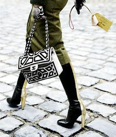 #PFW Black and white Chanel handbag. Accessories at Paris Fashion Week, Ready-to-Wear Fall 2012. Photo: Claudia Fessler