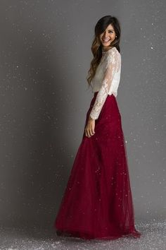 BURGUNDY FULL TULLE MAXI SKIRT