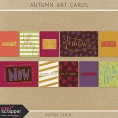 Autumn Art Cards Kit | pocket cards, journal cards, project life, printable, scrapbooking, digital scrapbooking, fall