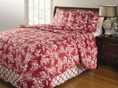 Greenland Home Mandarin Quilt Set :           Gazebos, palm trees and covered wooden bridges are some of the exotic scenery featured on the Mandarin bedding set, adding authentic Polynesian-Oriental style to your room. Toile-style print in a topical island motif. Each set comes with two quilted pillow shams and a coor...