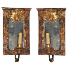 1stdibs | Pair Faux Tortoise Shell mirrored Sconces