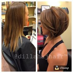Before and after on my beautiful client Melissa! You look amazing with short hair!! #hair #haircut #hairstyle #shorthair #shorthaircut #shorthairstyle #bob #bobhaircut #bobhairstyle #balayage #brunette #samvillashears #samvillatools #samvilla