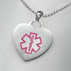 Medical ID Alert Bracelets, stylish bracelets to alert the medics in an emergency, Free Engraving - Item# CR1970 - Stainless Medical Heart Necklace - Pink