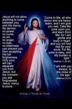 The Sunday following Easter is the celebration of the Divine Mercy. Trust in Him.
