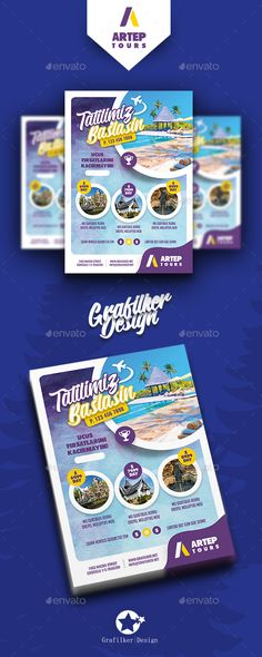 Travel Tours Flyer Templates by grafilker Fully layeredINDDFully Dpi, CMYKIDML format openIndesign or laterCompletely editable, print ready Text/Font or C - Graphic Vital Travel Brochure, Brochure Design, Flyer Design, Signage Design, Letterhead Template, Brochure Template, Flyer Template, Corporate Flyer, Business Flyer