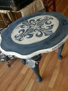 Fleur de Bleu Annie Sloan (Napoleonic Blue) Chalk Painted Table available @Esthetic Essence #estheticessence