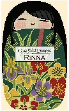 Kokeshi Chibi Doll MIDORI Cross Stitch Designs Rinna