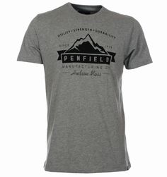 Penfield T-Shirts. Penfield Mountain Vintage Grey T-Shirt with Printed Design