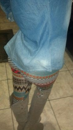 My style, pattern leggings, tall riding boots, denim button down, Blonde ombre