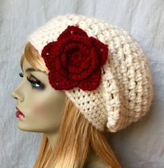 Cappello rosso Womens, uncinetto berretto, crema, colore personalizzato, grosso, caldo, fiore, Teens, città Hat, regali di compleanno per lei, JE505BTF8 di San Valentino