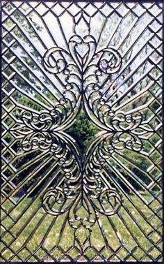 A hand beveled glass window we created using our 1915 machinery. Leaded Glass Windows, Stained Glass Panels, Stained Glass Art, Transom Windows, Window Glass, Window Art, Glass Door, Stained Glass Designs, Stained Glass Patterns