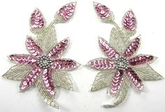 """Flower Pair with Pink Sequins and Silver Beads 5.5"""" x 3.5"""""""