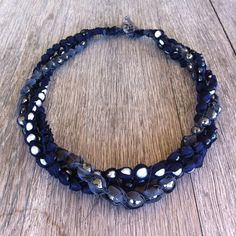 Custom triple-strand necklace with #pearls and #hematite in Midnight and Steel silk #spinellikilcollin #handmade #jewelry