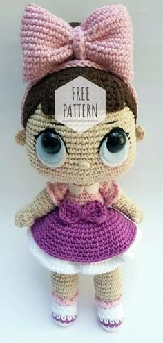 crochet toy patterns Amigurumi Doll Sweet Girl Free Pattern - Amigurumi - Amigurumi Doll Materials: Charm yarn (cotton) in colors: Lilac and and yarn Bella color: Hook mm. Doll Amigurumi Free Pattern, Crochet Dolls Free Patterns, Amigurumi Doll, Easy Crochet Projects, Crochet Crafts, Cute Crochet, Crochet Baby, Kawaii Crochet, Crochet Tops