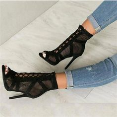 7dc38fd746 JINJOE New fashion show Black net Suede fabric Cross strap Sexy high heel  sandals woman shoes pumps lace-up peep Toe Sandals(China)
