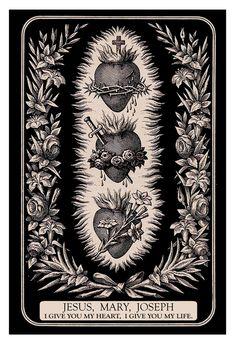 Hearts of the Holy Family Print -Three Hearts of the Holy Family Print - Religious Images, Religious Icons, Religious Art, Collage Kunst, Sacred Heart Tattoos, Jesus Mary And Joseph, St Joseph, Mary John, Vintage Holy Cards