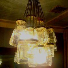 Mason Jar Chandelier  Hanging Mason Jar Lights, Mason Jar Chandelier, Mason Jar Lighting, Bottle Lights, Mason Jar Lamp, Garden Deco, Driftwood Art, Light Bulb, Table Lamp