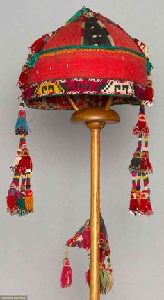 Tribal Hats (image 5) | Central Asia | 1900 | cotton, beads | Augusta Auctions | April 9, 2014/Lot 45