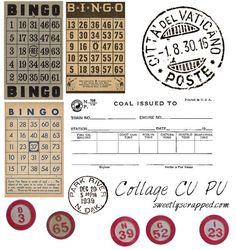 ♥Free♥ Vintage Clipart, Bingo Cards, Digi Stamps & Postage