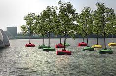 Révolution verte : La forêt flottante de Rotterdam - Bobbing Forest - Design - art © 2016 Dobberend Bos - Olivier Scheffer