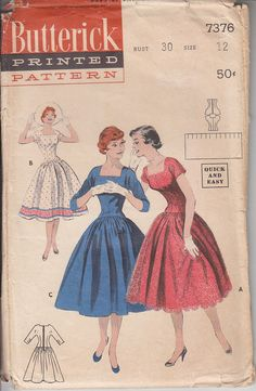 Butterick Sewing Pattern Ladies Rockabilly Dress  Size 12 evening dance 1950s