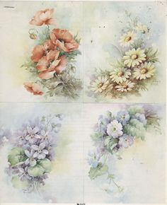4 Small Designs 67 by Sonie Ames China Painting Study 1974 | eBay