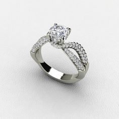Prongs Set Diamond Engagement Ring with Diamond Accent in White Gold ***(FOR DISCOUNT USE COUPON CODE: PramodWBMKD)***