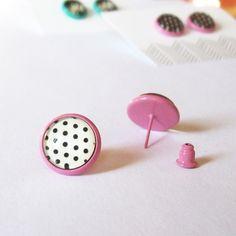 Puces d'oreilles pin up rose Boucles par Bouclelacreations sur Etsy