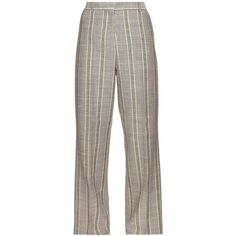 Acne Studios Obel cotton and linen-blend trousers ($215) ❤ liked on Polyvore featuring pants, acne, purple multi, brown trousers, cotton linen pants, high waisted pants, striped pants and straight leg pants