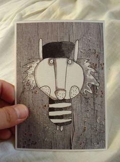 "Halloween greeting card, small illustration print, wall art, ""Lionard"" by mohadesign on Etsy"