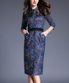 Another great find on #zulily! Navy Arabesque Pocket Sheath Dress #zulilyfinds