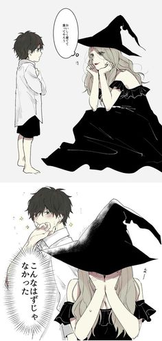 Like this aww he just gets small and big when he wants it's be so cuteee Anime Couples Manga, Cute Anime Couples, Anime Guys, Anime Witch, Manga Anime, Manga Art, Anime Cosplay, Style Anime, Character Art
