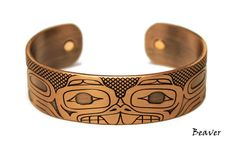 Beaver Copper Plated Cuff Bracelet by Paul Windsor, Haisla, Heiltsuk
