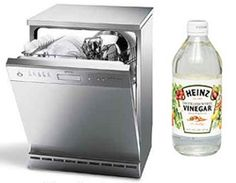 Use vinegar in place of rinse aid in the dishwasher. I'll have to try this.