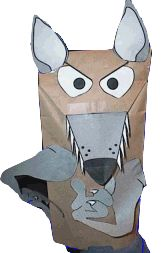 Wolf Paper Bag Puppet.  Good tool for Wolf Achievement 4b: Tell what to do if someone comes to the door and wants to come in.  Use with the story of Little Red Riding Hood or The Three Little Pigs.  Good lessons about stranger danger.