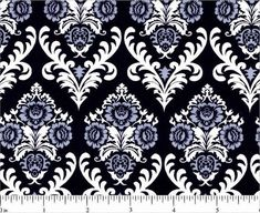 blue and black damask fabric | Blue White and Black Damask Fabric by by HoundstoothBoutique, $6.99