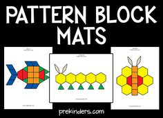 These Pattern Block Mats build problem solving skills. Free printable mats in color and blackline. Over 40 pattern block picture cards.