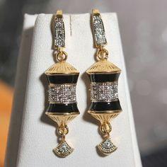 black damru mina work earring