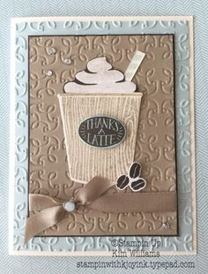 Stampin UP Coffee Cafe Bundle and Garden Trellis emboss folder. Kim Williams, Stampin with Kjoyink, Pink Pineapple Paper Crafts. I love the reversed emboss folder and using it both ways. Great card idea for masculine cards or feminine. Who doesn't love coffee? New STampin Up catalog 2017-2018