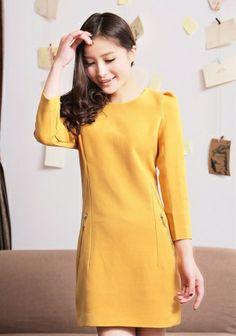 Fashoin Enchating Dizzying Yellow Blending round neck Three Quarter Length Sleeve Plain Zipper FASHION DRESSES