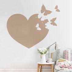 Vinilo decorativo de pared de un bonito corazón con mariposas http://masquevinilo.com/animales/1066-vinilo-decorativo-corazon-de-mariposas.html